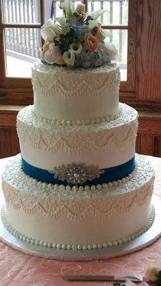 Ribbon and silver broach were family heirloom pieces. Specialty Cakes, Wisteria, Wedding Cakes, Ribbon, Butter, Cream, Lace, Desserts, Silver