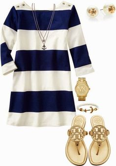 White and Gold With Navy **Super cute!