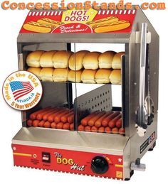 The Dog Hut hot dog steamer is proudly made in the U.S.A. and backed up with a 5 year parts warranty - the best in the business! The Paragon 8020 Dog Hut cooks  hot dogs and hot dog buns at the same time! This commercial hot dog steamer is manufactured from heavy gauge 20 gauge stainless steel. Includes convenient tong holders and tongs.