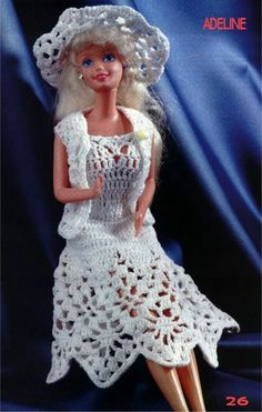 several Barbie crochet patterns - must use translate & be able to read diagrams
