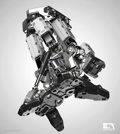 Modular Foot Designed for connection to corresponding mech leg unit. Mechanical Design, Mechanical Engineering, Mechanical Arm, Mecha Suit, Hard Surface Modeling, Robot Concept Art, Robot Design, Game Design, Techno