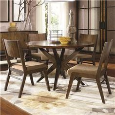 Kateri 5 Piece Pedestal Table and Wood Back Chairs Set by Legacy Classic at Belfort Furniture $899