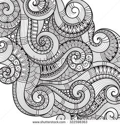 Pattern for coloring book. Ethnic, floral, retro, doodle, vector, tribal design element. Black and white background. Doodle vector background Henna paisley mehndi doodles design tribal design element