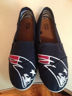 New England Patriots hand-painted canvas shoes! by WitchesGetSnitches on Etsy