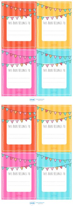 Twinkl Resources >> This Book Belongs To Labels >> Classroom printables for Pre-School, Kindergarten, Elementary School and beyond! Reading, Labels, Display