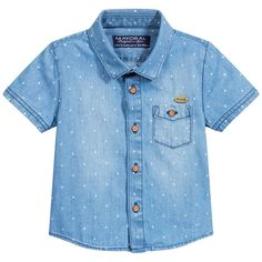 Baby boys blue lightweight cotton denim shirt by Mayoral. It has a tiny white star pattern, with wood effect button fastenings. There is a chest pocket with a button fastening and a metallic logo. It can be worn on its own or would look good layered over a t-shirt.<br /> <ul> <li>100% cotton (lightweight denim feel)</li> <li>Machine wash (30*C)</li> <li>Button fastenings</li> <li>Designer colour: Denim</li> </ul>