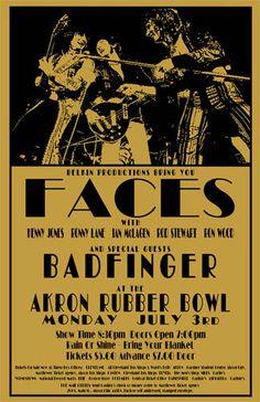 Flashback!    Faces / Badfinger 1972 Concert Poster by ClevelandRockAndRoll, $15.00