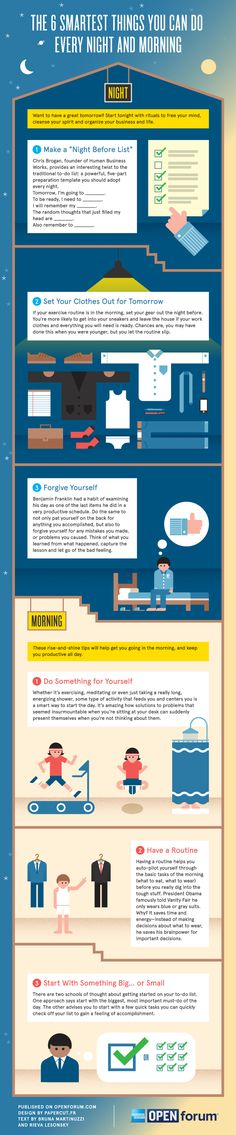 The Six Smartest Things You Can Do Every Night And Morning #Infografía