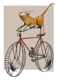 Cartoon illustration by Dario Castillejos. Crazy Cat Lady, Crazy Cats, I Love Cats, Cute Cats, Silly Cats, Photo Chat, Bicycle Art, Bicycle Design, Here Kitty Kitty