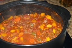 Beef and Butternut Squash Chili | Dish Over Dinner dices stew meat, kidney beans, and butternut squash make for a hearty stew like chili in the RockCroc