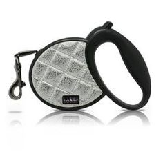 Nicole Miller Pet Retractable Leash, Silver Quilted