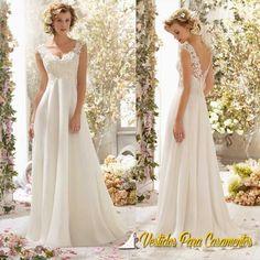 Vestido de noiva longo barato em Chiffon e Cetim