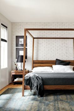 Hale Bed - modern canopy bed with the warmth of solid wood / @roomandboard