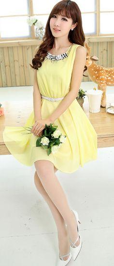 A-line Summer Chiffon Dress Diamond Collar YRB0036