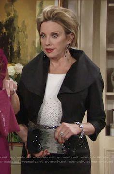Gloria's black and white rhinestone studded dress on The Young and the Restless.  Outfit Details: https://wornontv.net/68962/ #TheYoungandtheRestless