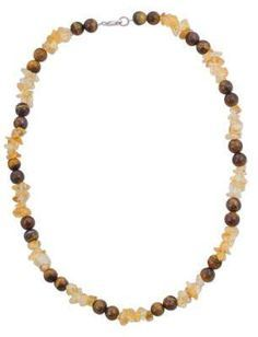 Novica Citrine and Tiger's Eye Beaded Necklace by Peruvian Artisans Silver Bead Necklace, Quartz Crystal Necklace, Tiger Eye Beads, Jewelry Packaging, Necklace Lengths, Fashion Necklace, Gemstone Jewelry, Jewelry Gifts, Beaded Bracelets