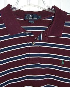Polo Ralph Lauren Men's 4XL Big Striped Polo Shirt Cotton Short Sleeve Maroon #PoloRalphLauren #PoloRugby