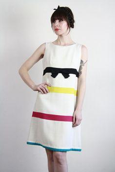 Vintage 60s Dress  Striped Shift  Aline Trapeze  Mod by VeraVague, $165.00