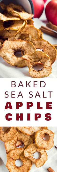 CRISPY Baked Sea Salt APPLE CHIPS recipe that is healthy and easy to make! These homemade chips are a healthy alternative to potato chips! The apples are baked in the oven to give them a nice crunch. I find myself craving a big bowl of these while watching TV at night!