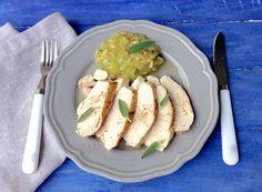 HOY COMEMOS SANO: Pechugas de pollo asadas al horno con salvia y pimientas. (Receta fácil y rápida)