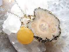 Halle Bejeweled Stalactite Slice Necklace by erinlynnschmitz