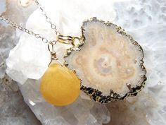 Halle Bejeweled Stalactite Slice Necklace by erinlynnschmitz
