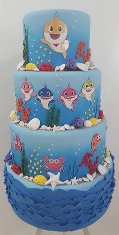 Baby Shark Cake Shark Birthday Cakes, Boys 1st Birthday Cake, 2nd Birthday Parties, Shark Cake, Fake Baby, Birthday Balloon Decorations, Bolo Fake, Shark Party, Baby Shark