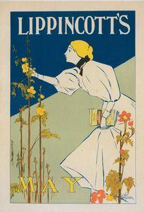 """Affiche américaine pour la revue """"Lippincott's Magazine"""", publiée à Philadelphie (Mai 1895)."""