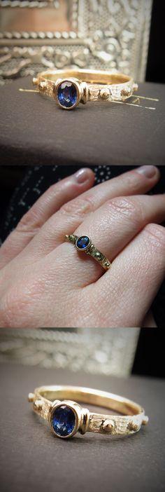 797a489393c596 Custom order rosary ring - 14ct gold ring with natural saphire. Różaniec z  pięknym naturalnym
