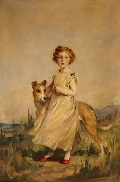 Lady Mairi Stewart (1921–2009), Later Lady Mairi Bury, as a Little Girl, with a Greyhound  by Charles Edmund Brock 1924