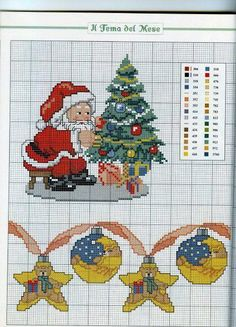 Santa dressing the Christmas tree Santa Cross Stitch, Cross Stitch Christmas Stockings, Christmas Stocking Pattern, Cross Stitch Books, Cross Stitch Art, Cross Stitch Designs, Cross Stitching, Cross Stitch Embroidery, Cross Stitch Patterns
