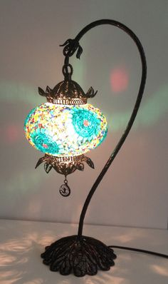 Decorative Handmade mosaic lamp with hand crafted copper base, Bedside night table lamp 10% discount with code WELCOME10