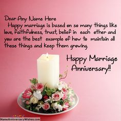 Beautiful Candle Marriage Anniversary Wishes With Name