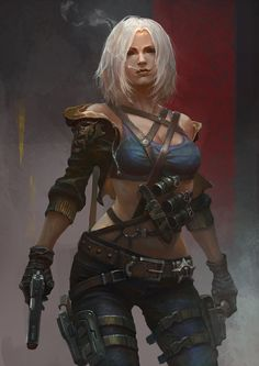 ArtStation - Girl by Su jian. ( concepts / concept / art / characters / character / digital / games / game / fantasy / armor / leather armour / cigarette / smoking / platinum blonde white hair / weapon / gun / female / crop top / pistol / jacket / holster / belts / ammo / fighter / illustration / illustrative / splash art / design / human / )
