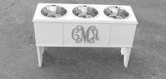 Dog Bowl, Monogram, Personalized, Elevated Dog Feeder, Large 3 Bowl Holder Raised Dog Bowl Holder Silver Sparkles & Glitz Custom on Etsy, $195.00