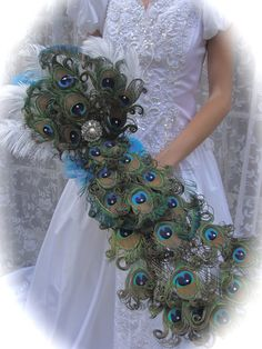 Luxurious Peacock Feather Cascade Bridal Bouquet  by Ivyndell, $275.00