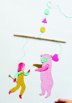 """Bear and Girl mobile from my first book """"Find and Keep"""