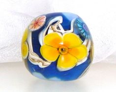 Handmade Lampwork Bead Yellow Orange Cobalt by elizabethsbeads, $20.00
