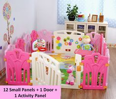 Baby Play Yard (12 Small Panels + 1 Activity Panel + 1 Door). The play yard set comes with 6 small pink panels, 6 small rose red panels, 1 activity panel and 1 door panel. Baby Girl design. Small Panel Dimensions: 60cm (H) by 40cm (L). Activity Panel Dimensions: 60cm (H) by 80cm (L). Door Panel Dimensions: 60cm (H) by 80cm (L). Suitable for babies aged 1/2year old onwards.