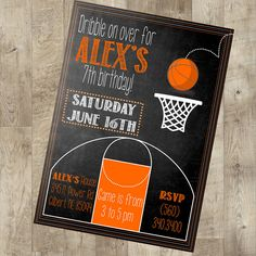Basketball Party Invite Sports invite by TheNauticalHouse on Etsy