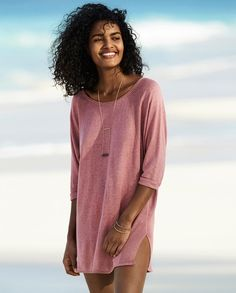 Poetry - Linen knitted tunic - A slinky, pure linen sweater in our fine gauge knit with contrasting stitched panels at the side. With a relaxed, longer line fit, round neckline and raglan sleeves that finish at the elbow, its a great summer layer. 100% linen