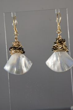Mother of Pearl Fan shaped shell earrings with Gold Plate coiled cap earrings - Simply Unique Jewelry