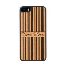 Customizable Black and Gray Stripes Carved® Cherry iPhone 5 Case