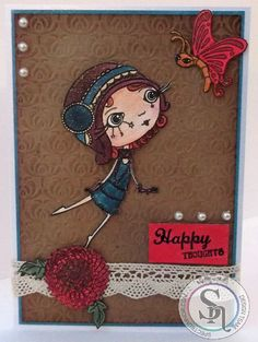 Designed by Marie Jones - Spectrum Noir Sparkle Vintage Hues – Hearthside, Peony, Peacock Blue, Teacup, Sage & Macaroon - Verity Rose Flutterby stamp, accessories stamps, embossing folder & lace - Kraft card - Centura Pearl Snow White Hint of Gold - Watercolour card - Vintage Photo Distress ink - Collall All Purpose & 3D glue #crafterscompanion #spectrumnoir