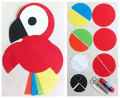 Parrot made with circles and semi-circles - could have kids figure out how many circles does it take to create the parrot. (image only)