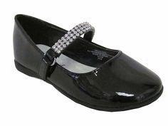 Black Leatherette Rhinestone Mary Jane Ballerina Flats