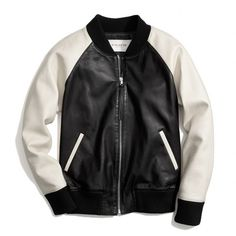 Coach Leather Varsity Jacket (3.480 BRL) ❤ liked on Polyvore featuring outerwear, jackets, coats & jackets, tops, raglan jacket, collared leather jacket, genuine leather jackets, colorblock jackets and tailored jacket