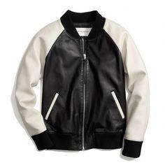 Coach Leather Varsity Jacket (3.480 BRL) ❤ liked on Polyvore featuring outerwear, jackets, coats & jackets, tops, raglan jacket, collared leather jacket, genuine leather jackets, colorblock jackets and tailored jacket