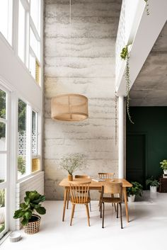 a pale polished floor helps to bounce around the light that floods in through the double height wall of reclaimed windows accents of green and wooden Diy Projects Shelves, Reclaimed Windows, Wall Design, House Design, Casa Loft, Patio Makeover, Decoration Inspiration, The Design Files, Home Interior