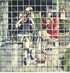David Hockney Billy + Audrey Wilder, Los Angeles, April 1982 1982 Composit polaroid, 46 x 44 Design Lab, Andy Warhol, David Hockney Collage, David Hockney Joiners, David Hockney Photography, Polaroid Collage, Polaroids, Polaroid Pictures, Pop Art Movement